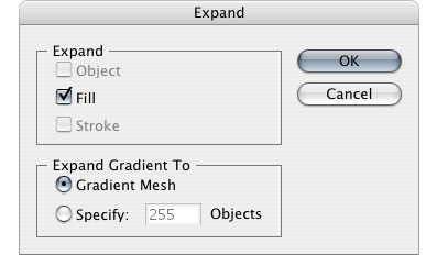 Expand in the Gradient Mesh