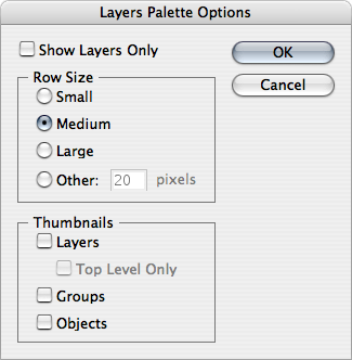 Layers Palette Options