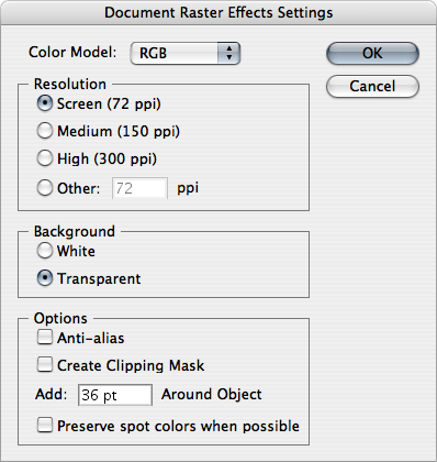 Document Raster Effect Settings