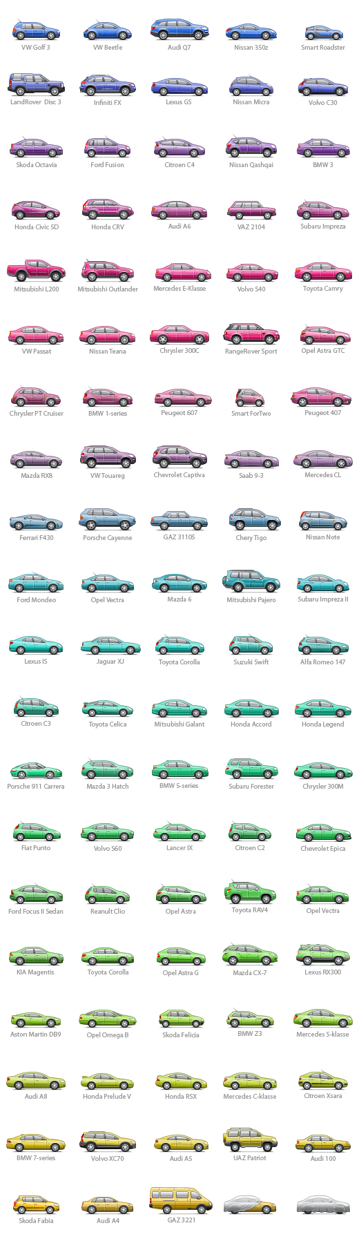 100 cars icons for Autokadabra