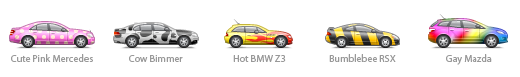 Car icons in funny colors